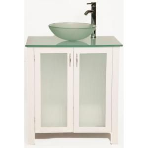 Bionic Allison 31 in. Vanity in White with Glass Vanity