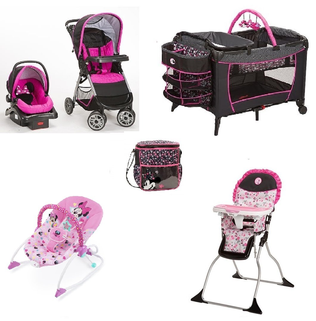 Minnie Mouse Infant Car Seat And Stroller Disney Minnie Mouse Pop Baby Gear Collection Baby Bundle