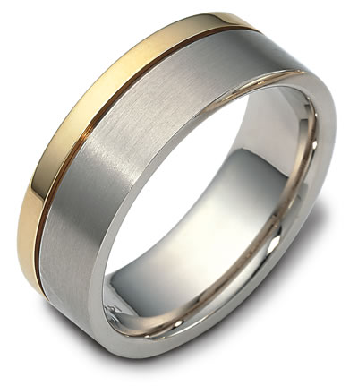 Dora Mens Wedding Band With Gold Stripe This Men S Features A Two Tone Design And Bold