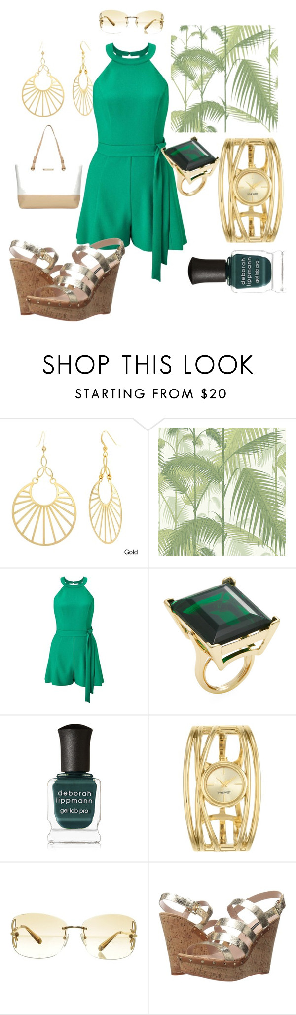 """""""Florida Flair"""" by rebel-coated ❤ liked on Polyvore featuring Sterling Essentials, Cole & Son, Miss Selfridge, Kenneth Jay Lane, Deborah Lippmann, Nine West, Louis Vuitton, French Connection and Dorothy Perkins"""