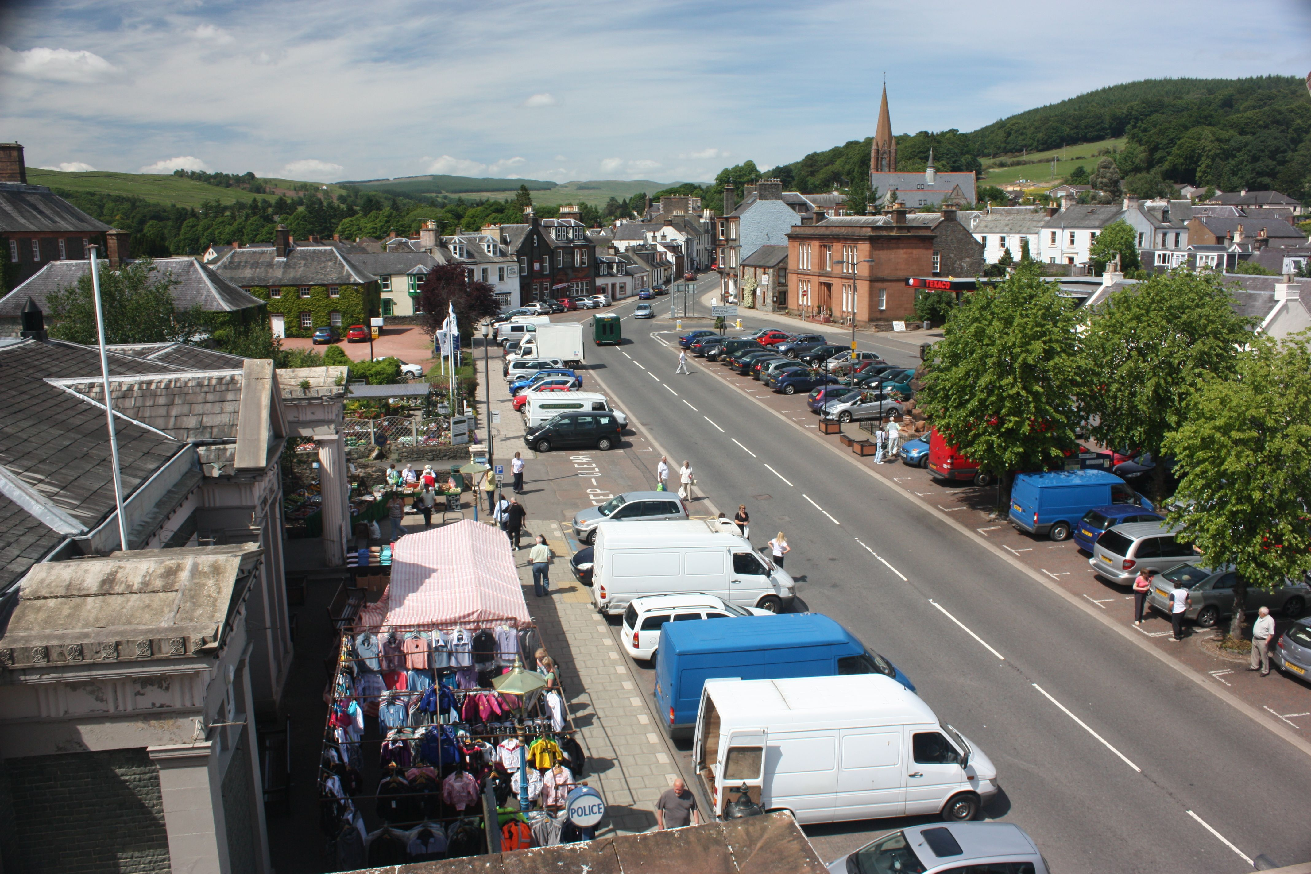 Moffat High Street viewed from the roof of the Annandale