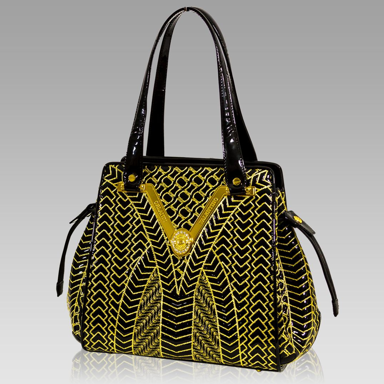 12cf7566130c Valentino Orlandi Designer Black w Gold Quilting Leather Gilded Bucket