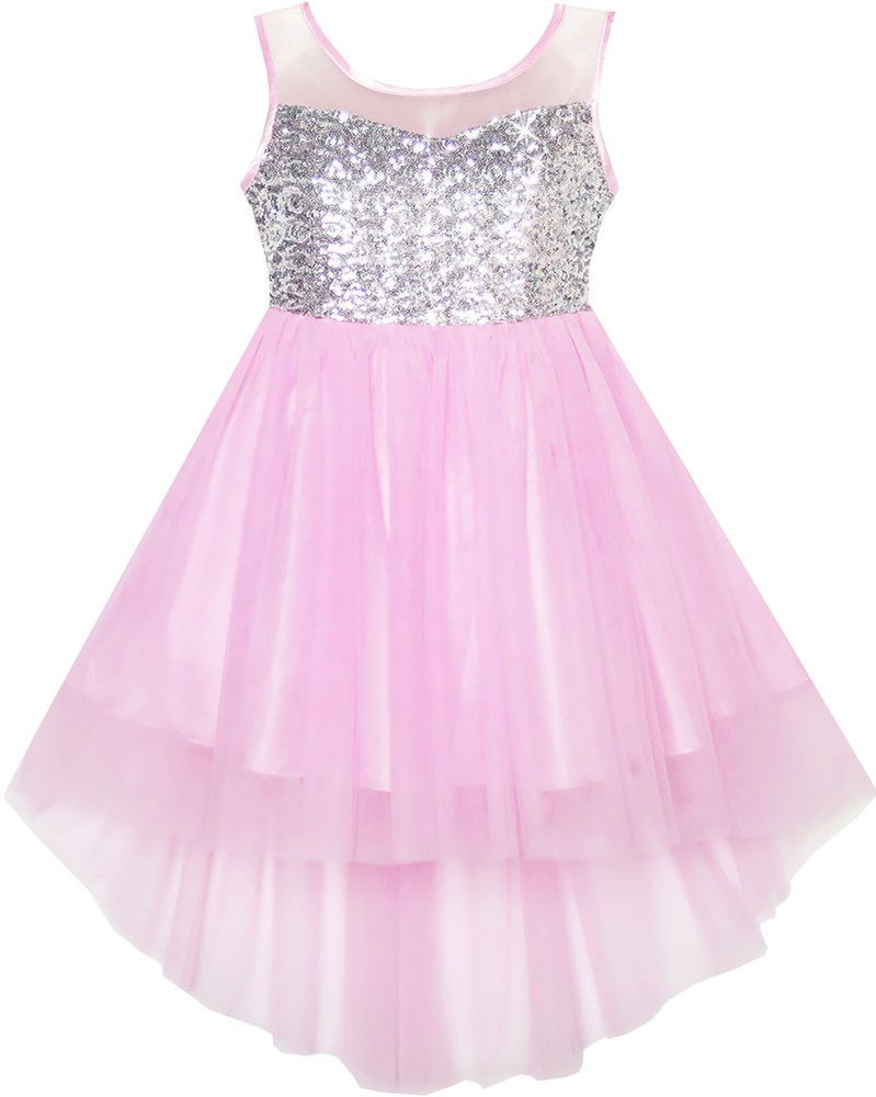 Flower Girls Dress Sequin Mesh Hi-lo Wedding Pageant Birthday Size 8