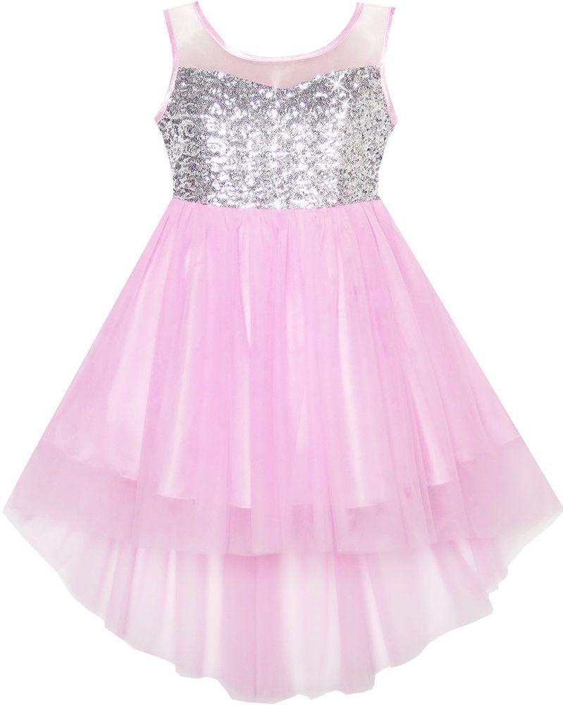 Flower Girls Dress Sequin Mesh Hi-lo Wedding Pageant Birthday Size 14