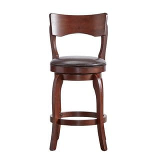 24bde3fd20885 Lyla Swivel 24-inch Brown Oak Counter Height Linen Barstool by iNSPIRE Q  Classic (Brown Faux Leather)