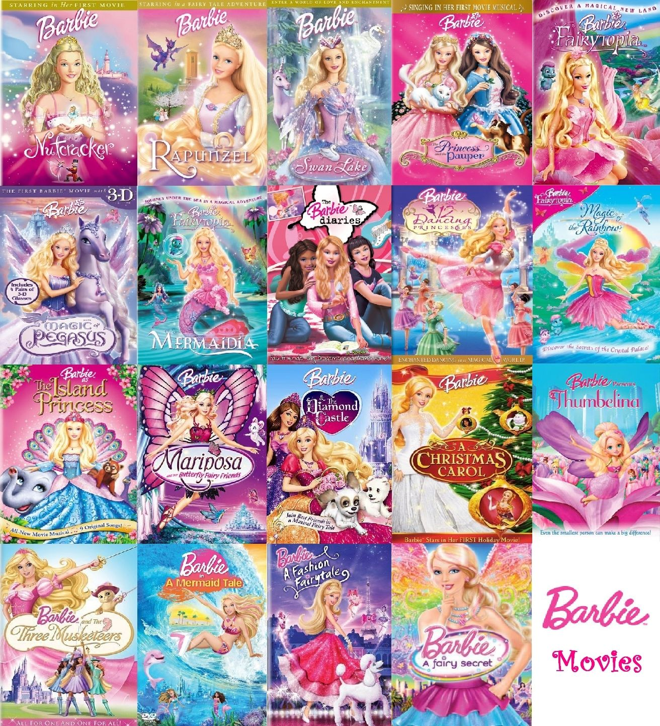 Barbie Movies Fan Art Barbie Movies Collection Complete Barbie Movies Barbie Cartoon Movie Collection