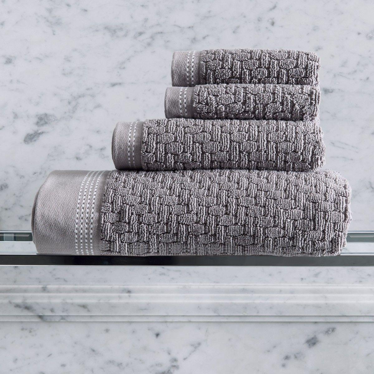 Bath Towel Couture Felt Grey 100 Cotton Banyo Havlulari