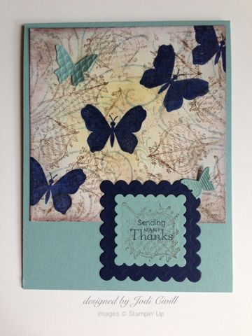 something about stamping: Faux linen, Stampin' Up card, French Filigree, Faith in Nature, For All You Do, Petite Pairs, Beautiful Wings