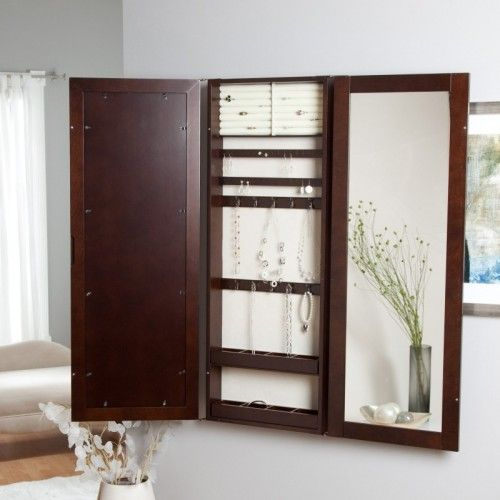Hidden Wall Mount Jewelry Armoire Trifold Photo Frame and Mirror