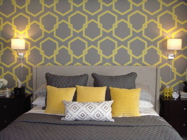 Striking Living Room Interior With Neutral Color: Yellow Color Of Pillow  Design On Grey Comfortable Bedding Unit Equipped With Two Table Lamps Idea  In Mayo ...
