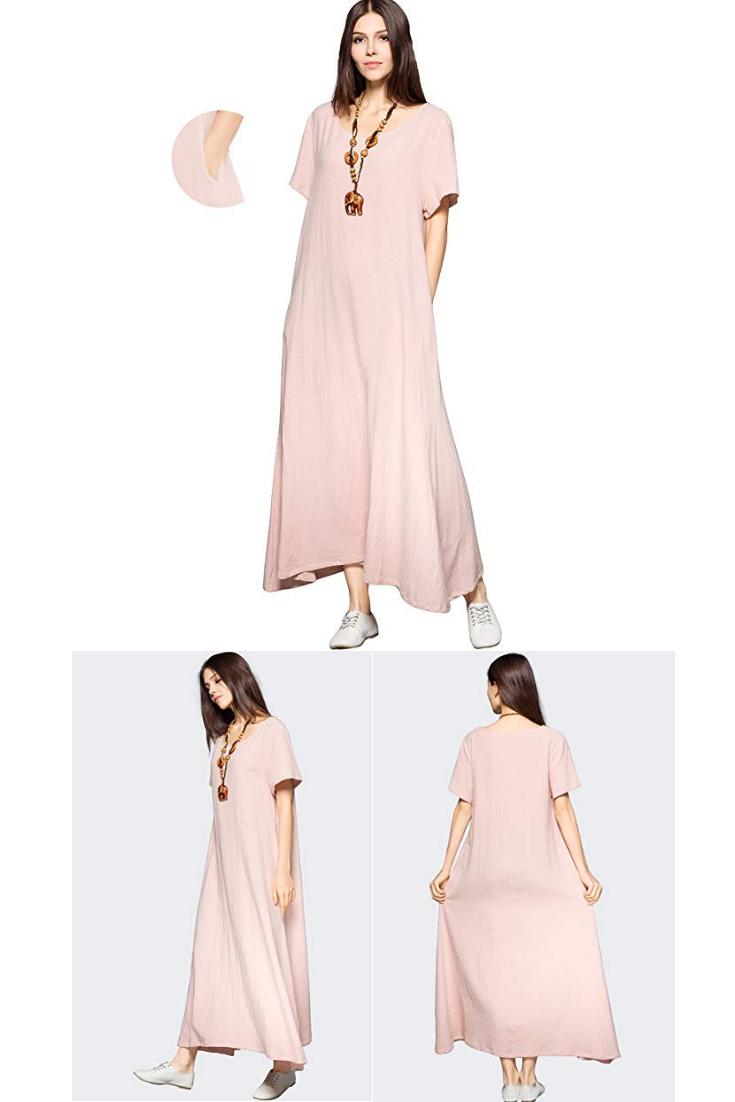 ec06adeae8 Anysize Side Pockets Linen Cotton Soft Loose Dress Spring Summer Plus Size  Clothing F131A