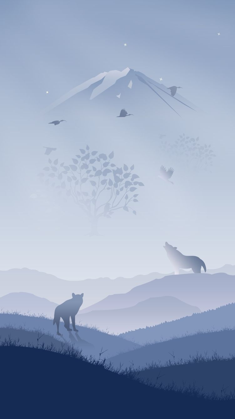 Wolves In Winter Art Iphone Wallpaper Iphone Wallpaper Landscape