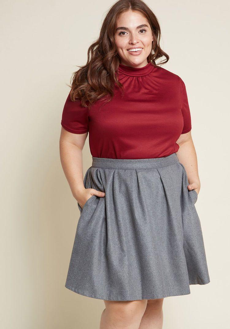6cc97c3fe21 ModCloth Brisk-Taker Wool Mini Skirt in Grey Gray