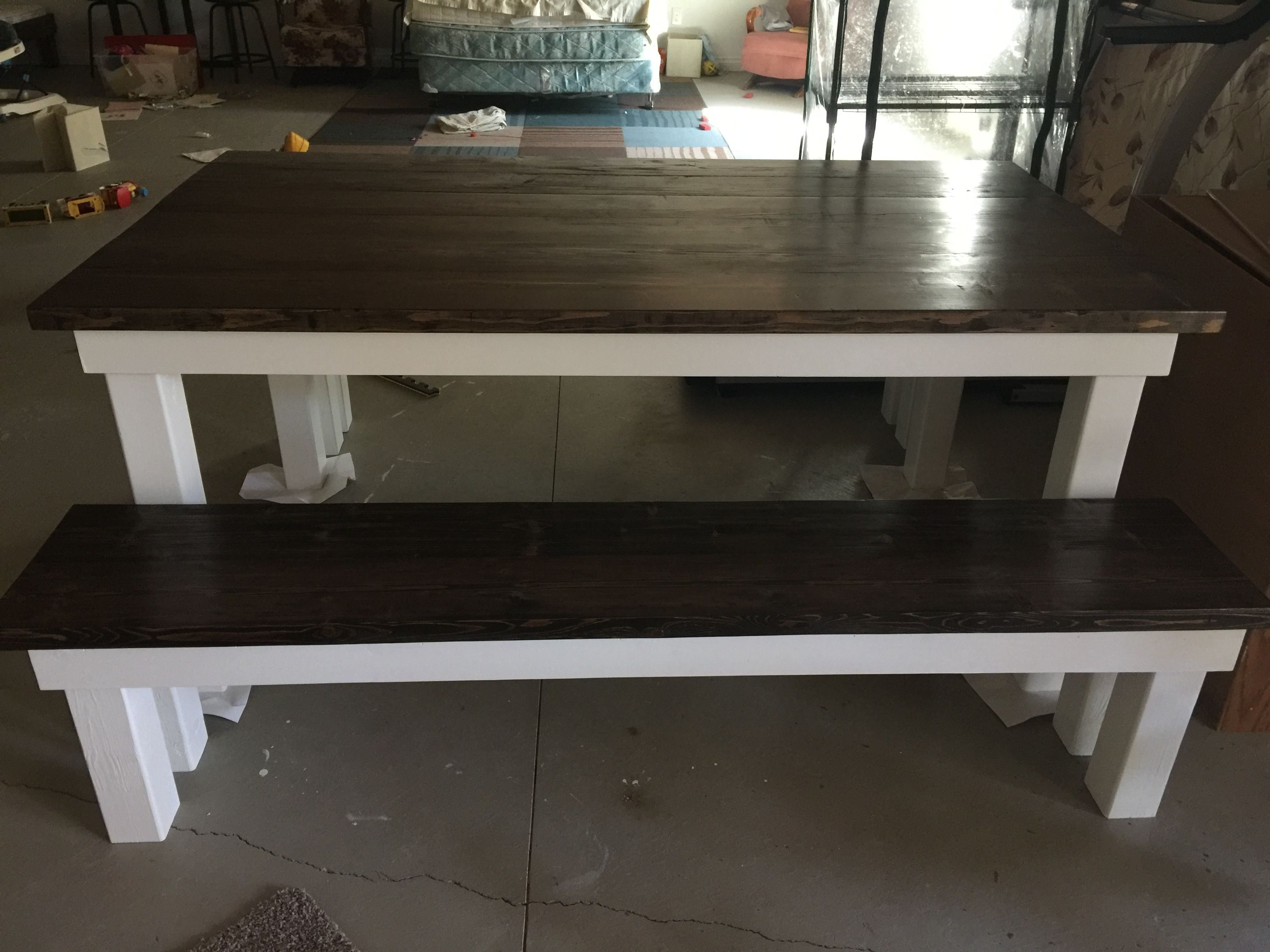 Remarkable Farmhouse Table And Benches White Legs Jacobean And Ebony Short Links Chair Design For Home Short Linksinfo