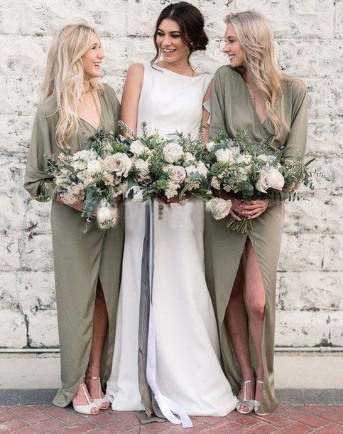 Boho Olive Green Casual Bridesmaid Dresses for Wedding Party -   14 wedding Party green ideas