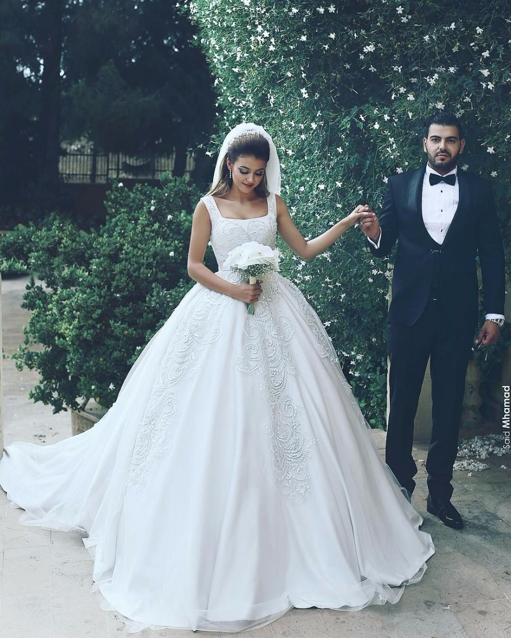 Luxury Wedding Dress Square Collar Tank Sleeves Satin Wedding Gown ...
