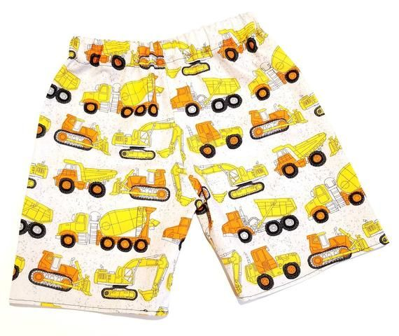 Construction vehicle shorts, boys shorts, toddler shorts, dump truck, cement truck #toddlershorts