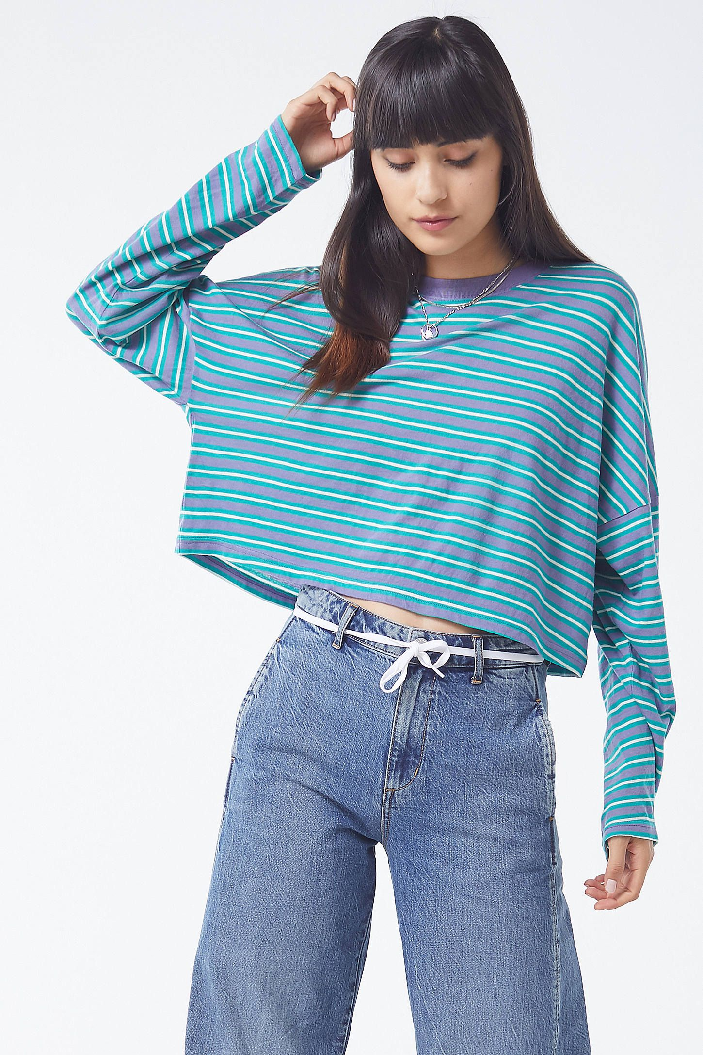 1f2a61c38bf7 UO Jana Striped Long Sleeve Cropped Top