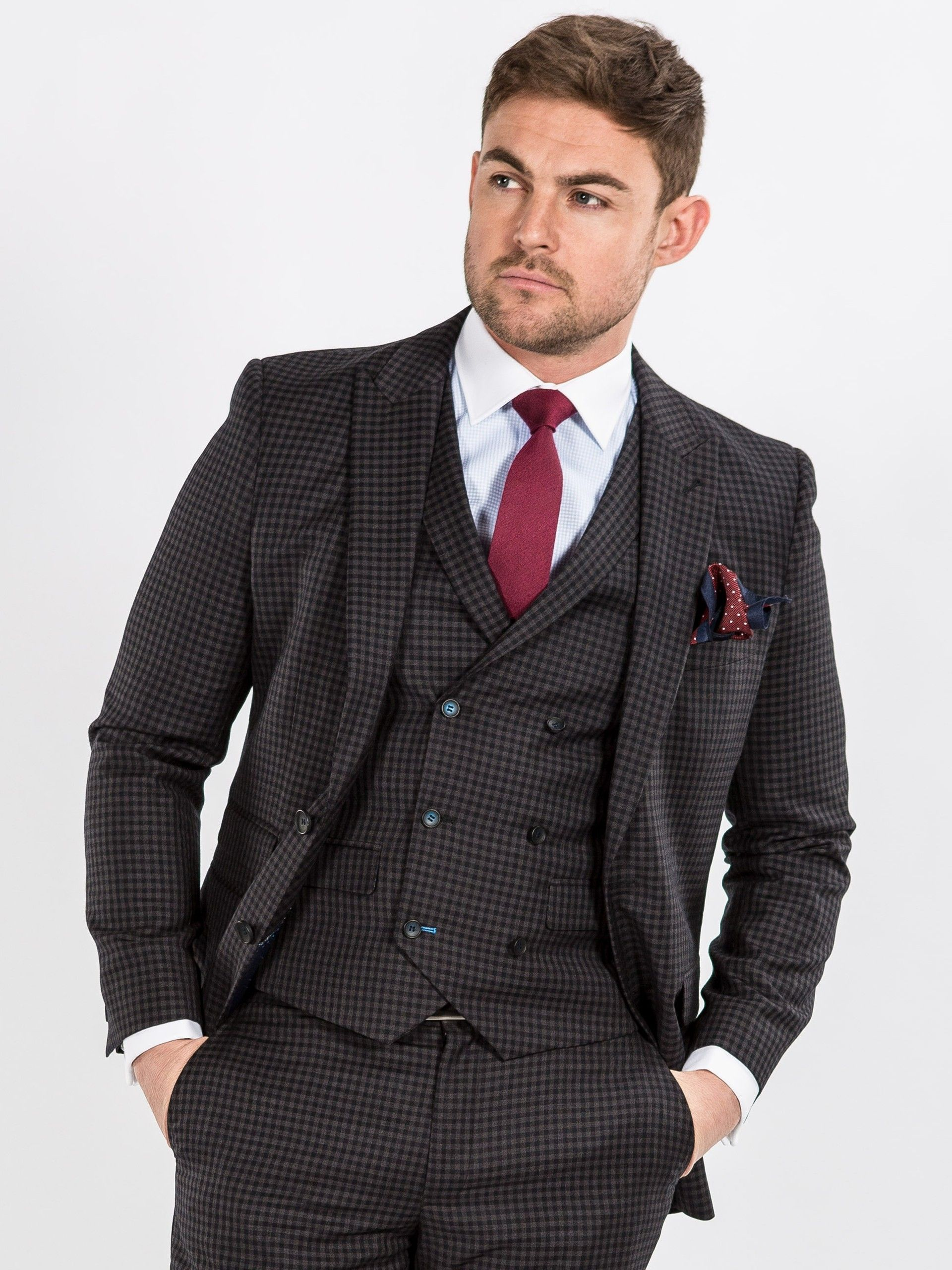Onesix5ive Luxury Charcoal Check Double Breasted Waistcoat Slim Fit Three Piece Suit Mens Fashion Suits Suits Suit Combinations