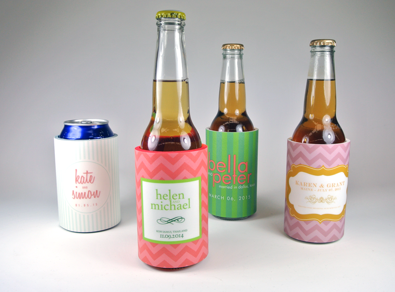 Fashionable full photo quality wedding koozies #koozies provide the perfect party favor for any wedding, graduation party, bachelorette party, etc