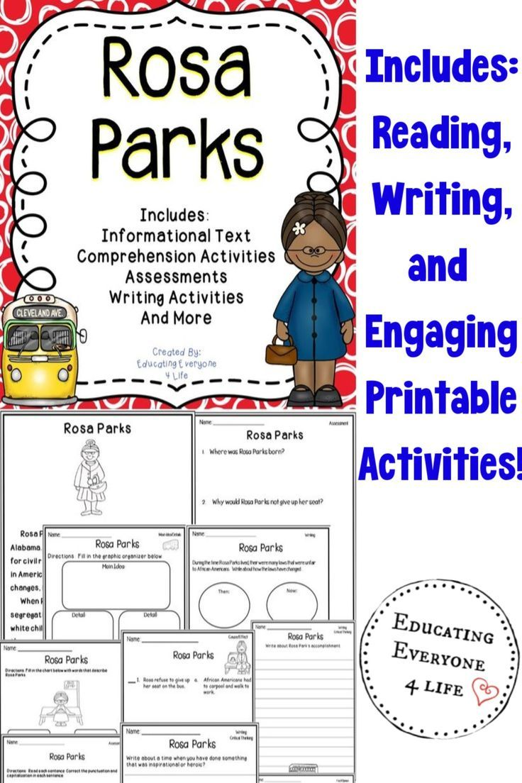Rosa Parks Activities For The Classroom In 2020 Rosa Parks Activities Elementary Teaching Resources Writing Activities