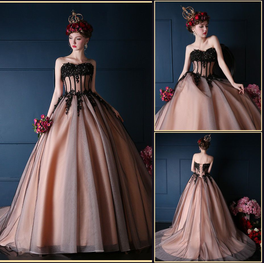 New Black Applique Evening Dresses Long Ball Gown Party Prom Wedding ...