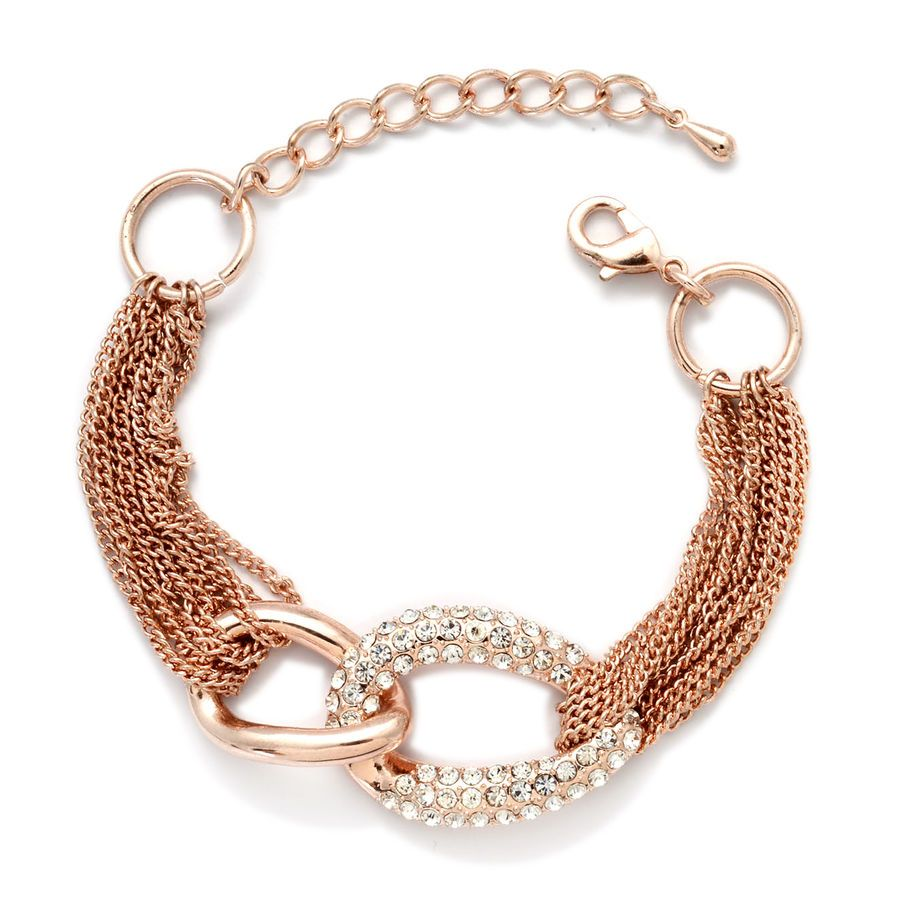 White Austrian Crystal Bracelet Size 7 with Extender in Rose Gold