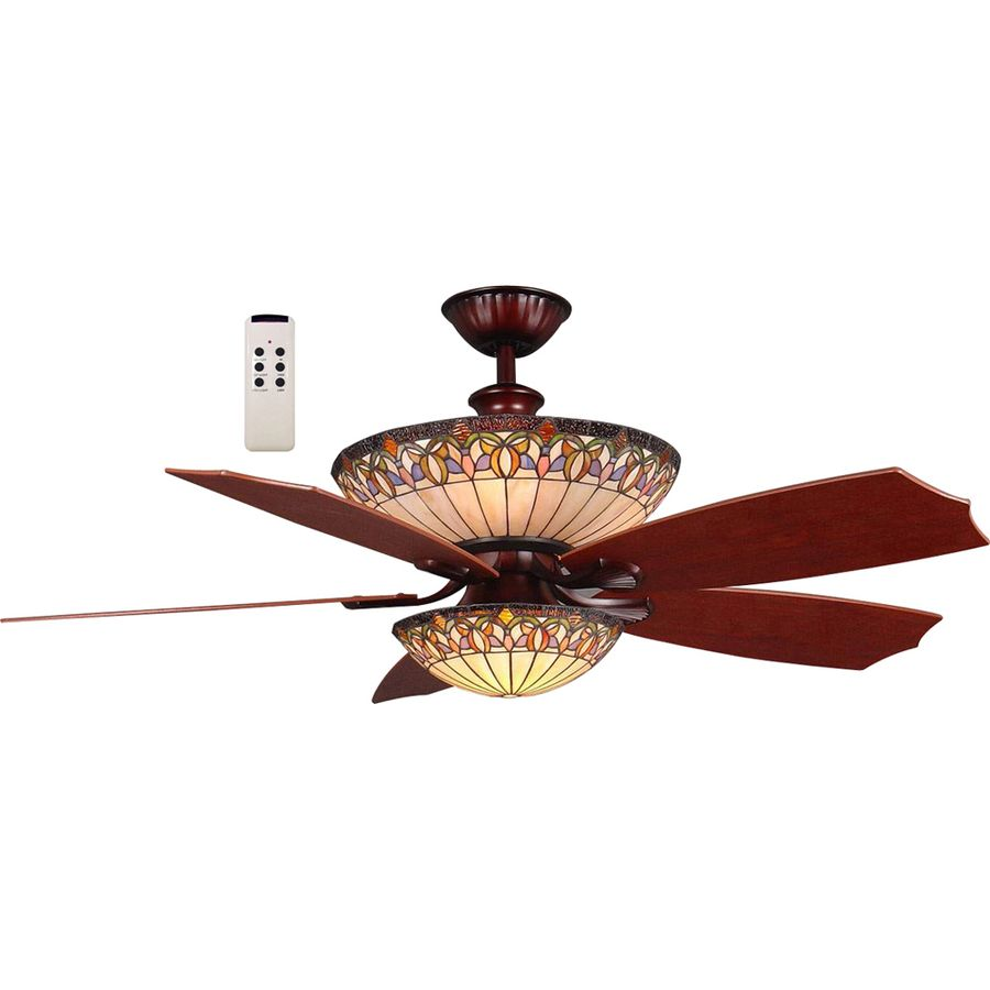 shop harbor breeze 54in rustic bronze ceiling fan with light kit and remote at