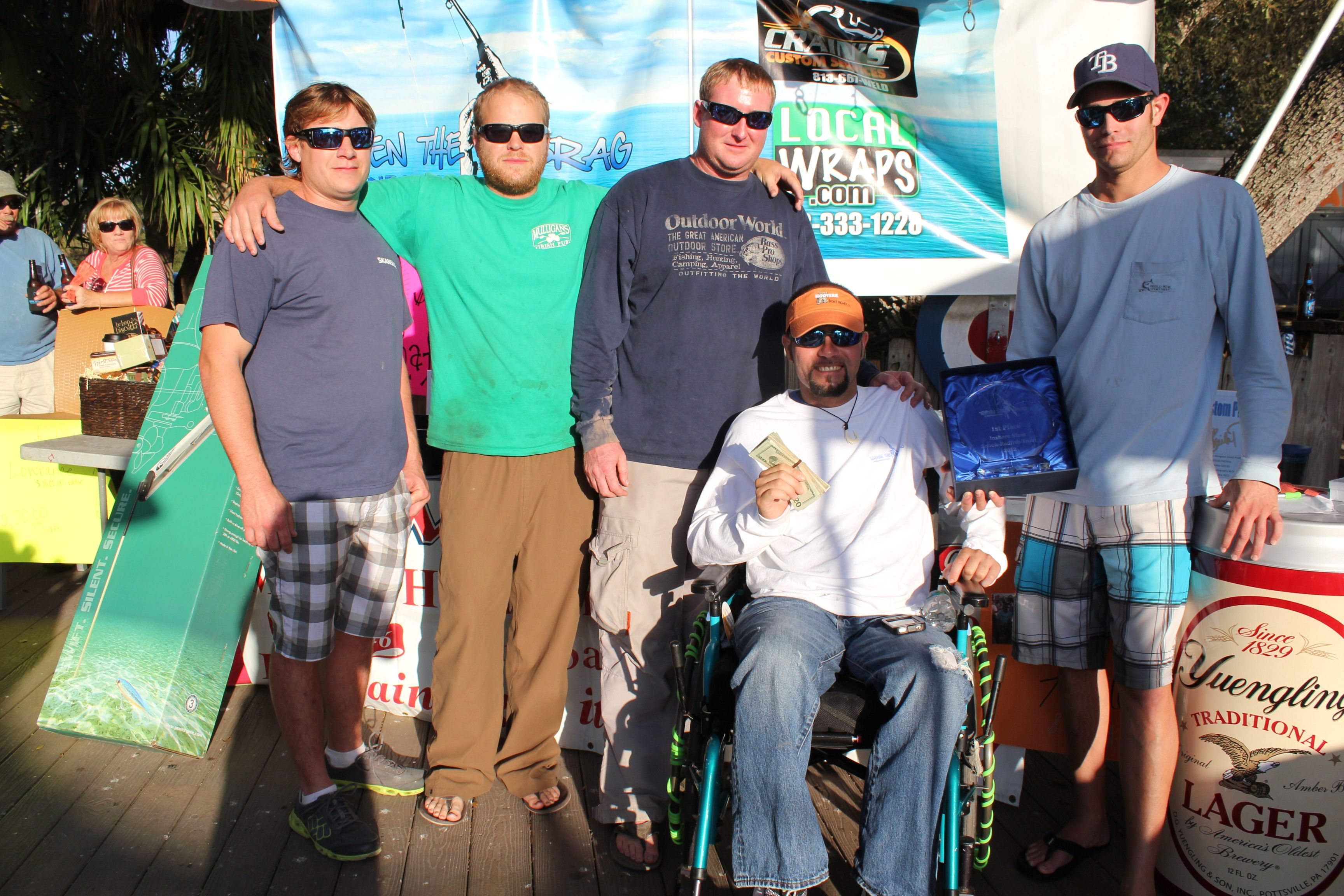 """Team """"Fish Whistle"""" First Place 2012 Inshore Slam Tournament Donated earnings back to TTDF to benefit rehab therapy"""