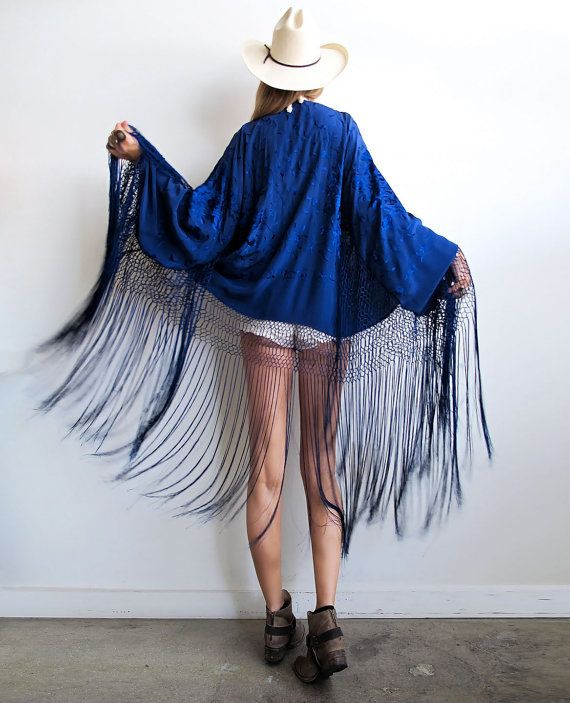 embroidered silk fringed kimono
