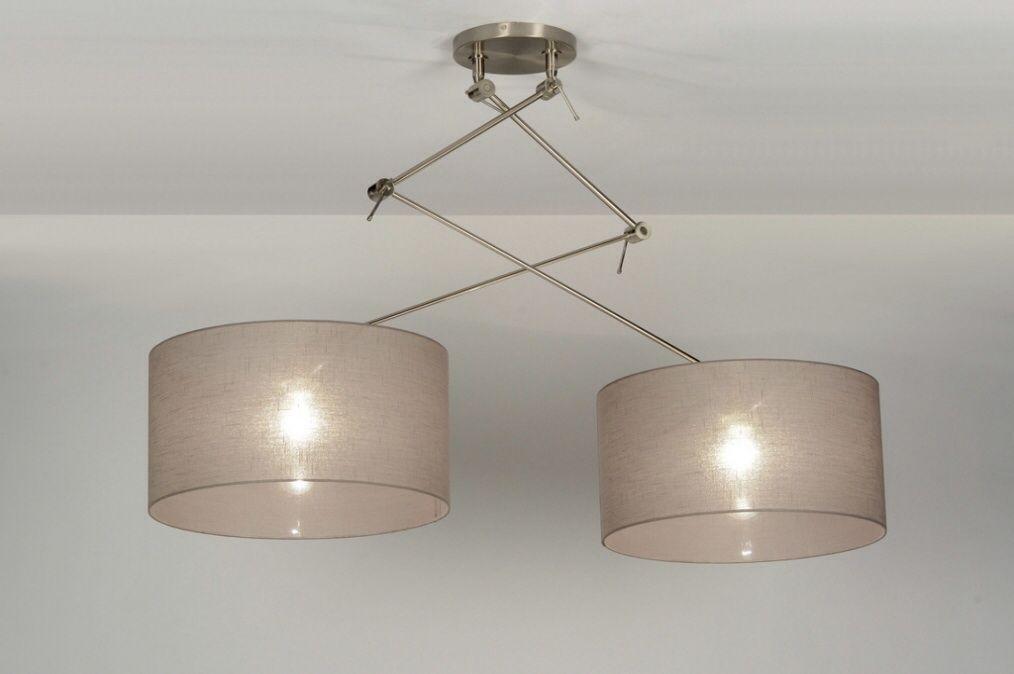 Mooie grote hanglamp met 2 stoffen kappen voor bij een for Grote hanglamp eettafel