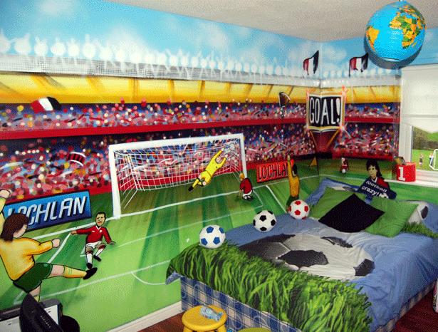 Football Themed Boys Bedroom Mural By Www.artisanartworks.com