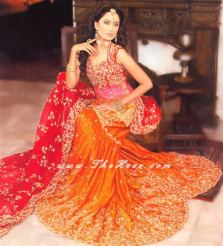 915a2e6163 BW241 Deep Red Pink & Burnt Orange Bridal Lehenga Designers in Pakistan  Bridal Lenga Lahnga Designers Bridal Wear