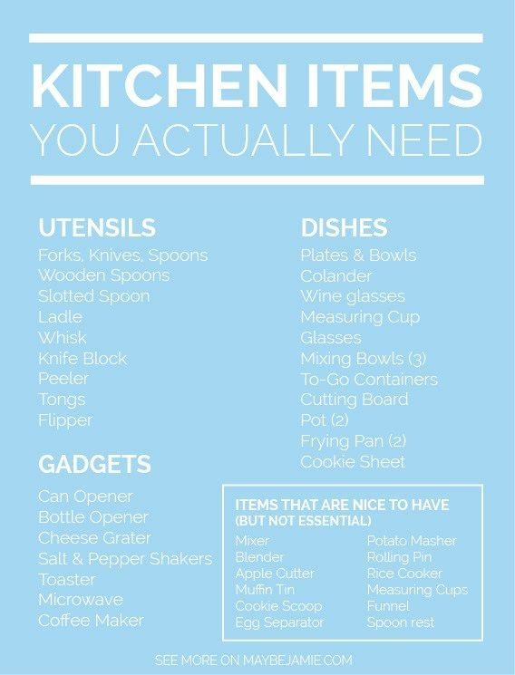 Kitchen Items You Actually Need | Kitchens, Apartments and Shopping