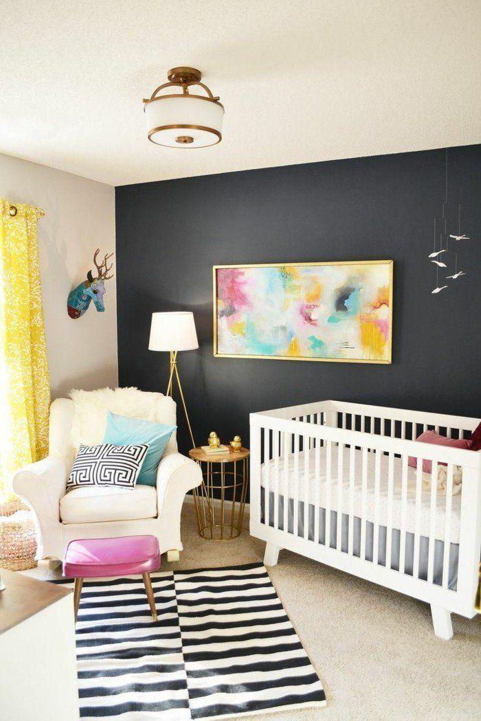Comment choisir le design de votre chambre bébé mixte tapis à rayures blancs noirs