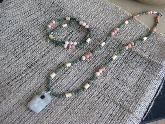 Malachite Wood Green Aventurine Necklace with by GoldCatJewelry, $10.00