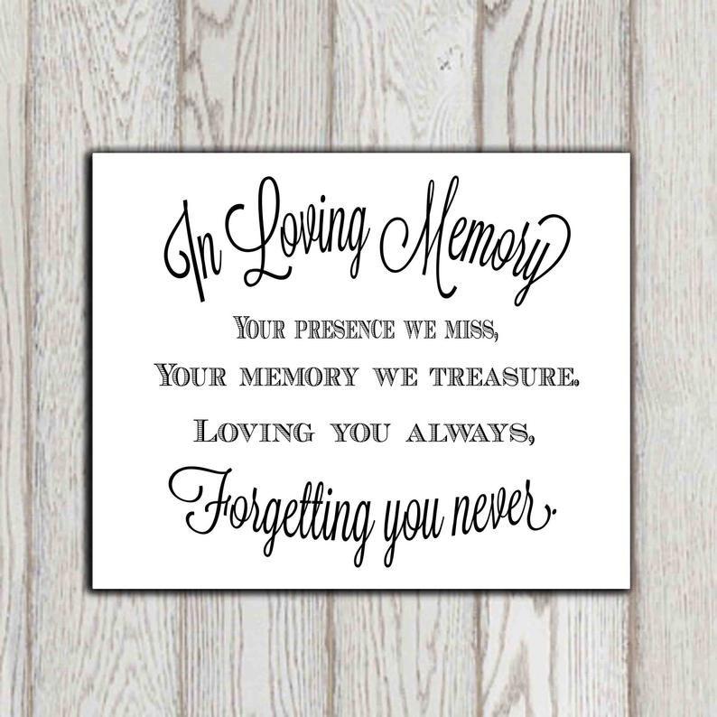 13+ Wedding memorial sign sayings information