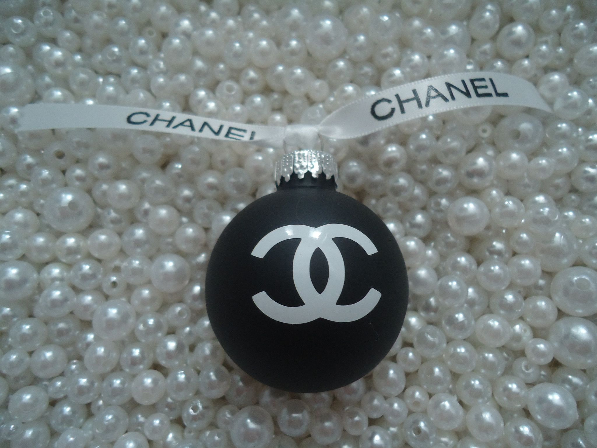 Chanel inspired matte black glass christmas tree ornament with