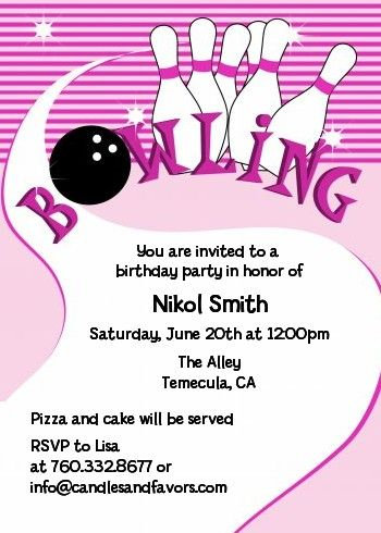 Bowling Girl - Birthday Party Invitations Girl birthday, Party - bowling invitation