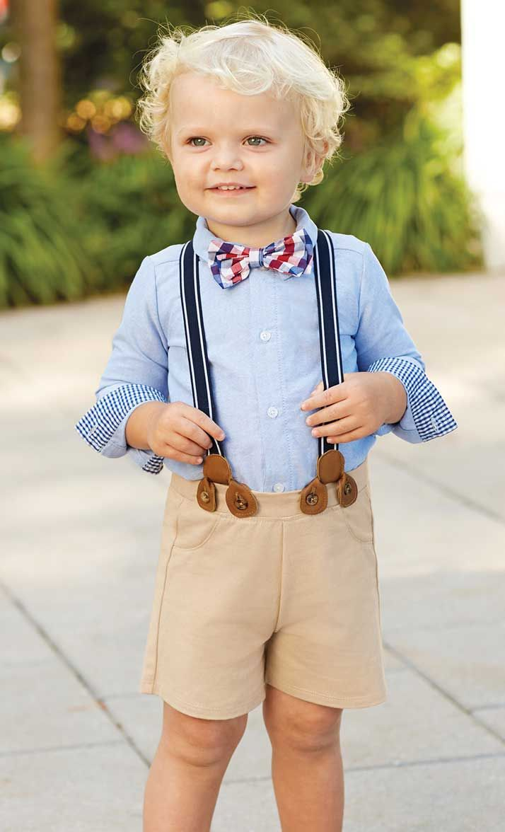 Dress him up in a traditional suspender short set that's ...