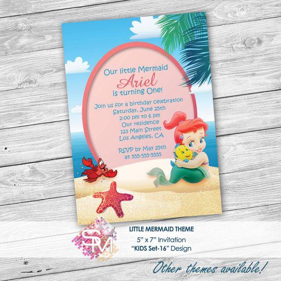 Little Mermaid Invitation Ariel Invitation Baby Por