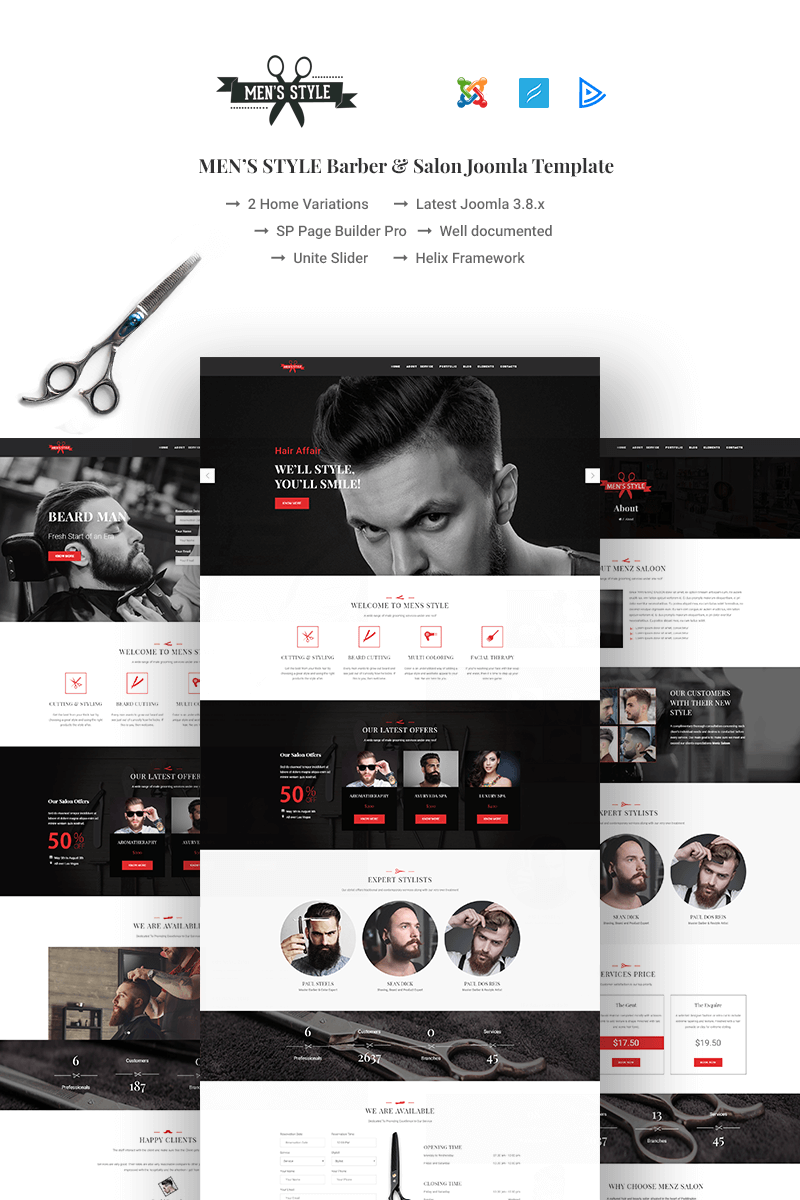 MenzStyle - Barber & Salon Joomla Template #67459