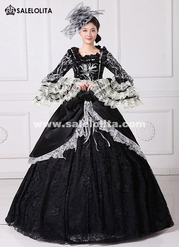 eb1ddde8e6b6b Brand New Black Printed Marie Antoinette Dress 18th Century Civil ...