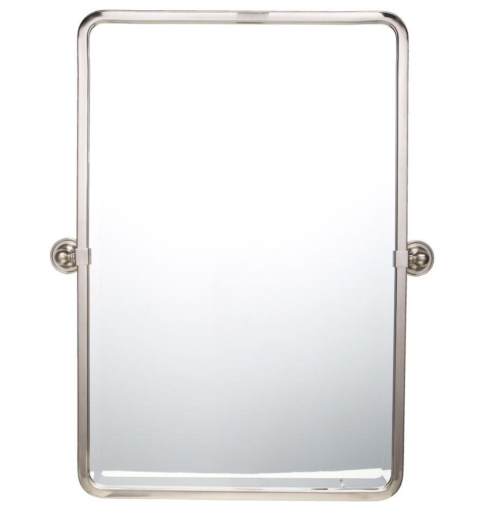 brushed nickel mirror. Landry Pivoting Rounded Rectangle Mirror 32\ Brushed Nickel