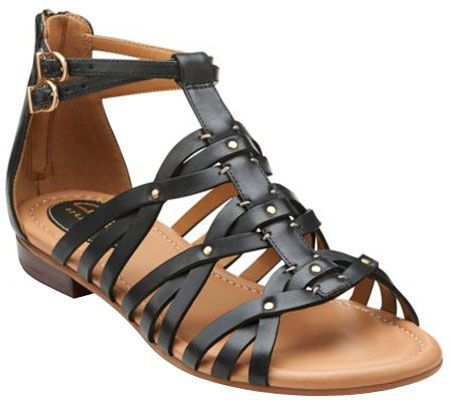 Clarks Artisan Leather Gladiator Sandals - Viveca Rome