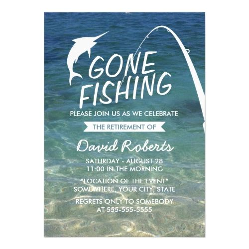 Retirement Party Invitations Gone Fishing Beach Retirement Party