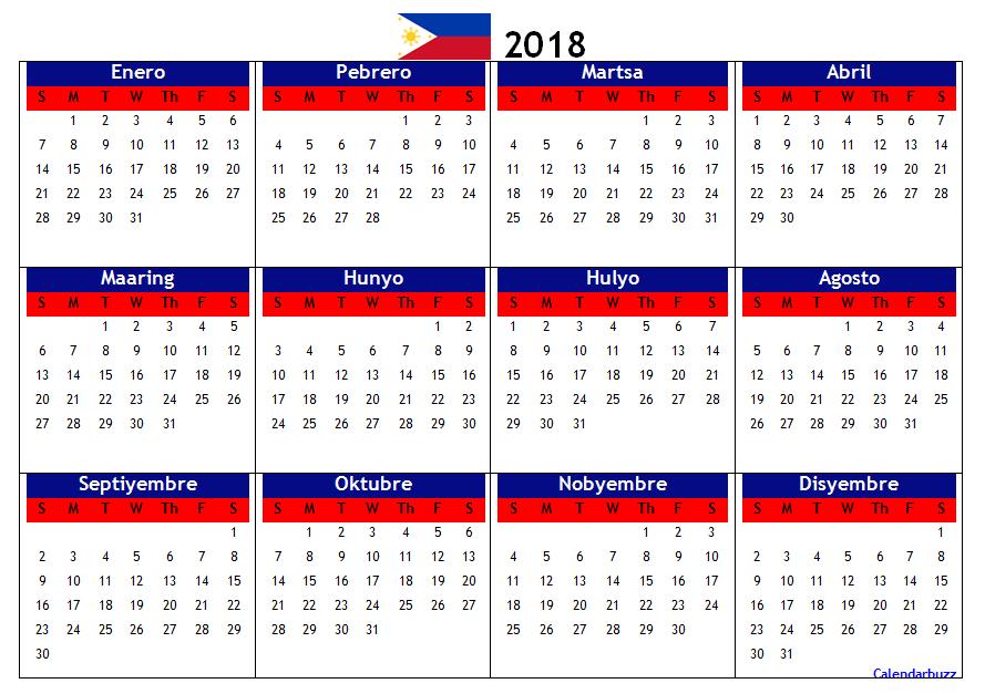 philippines 2018 calendar printable