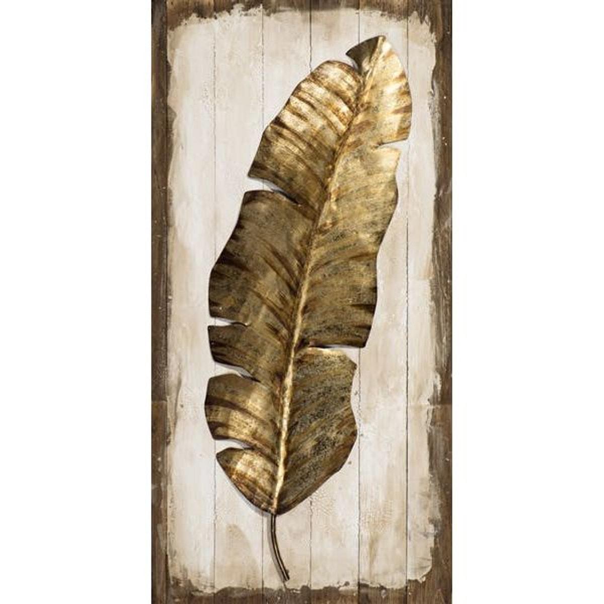 Tableau Plume Animal Tons Dorés Sur Fond Effet Planches Tons Beiges Et Marrons 50x100cm Taille Taille Tableau Plumes Peinture Marron Peinture Orientaliste