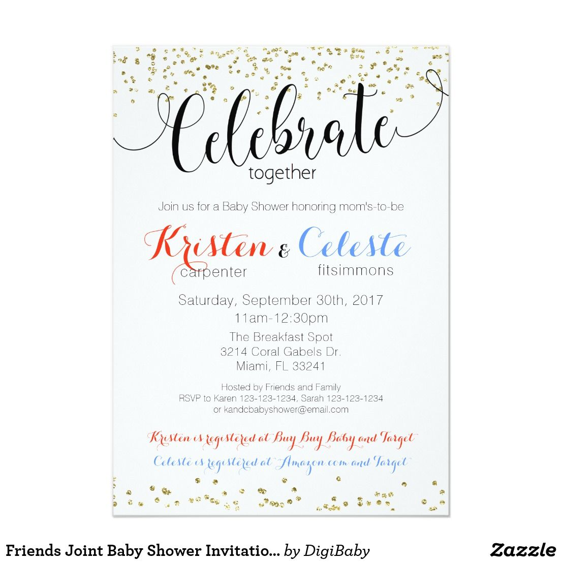 Friends Joint Baby Shower Invitation Book Card   Shower invitations ...