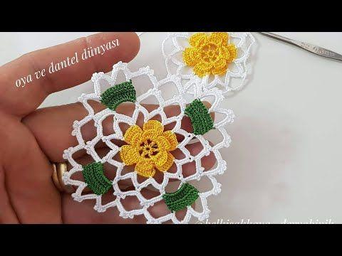 Çeyizlik Havlu Kenarı Sarı Papatya Yapımı #crochetmotif